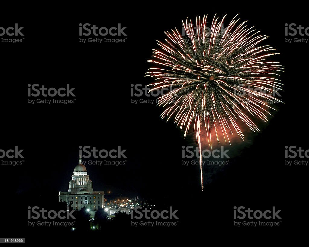 Fireworks over Providence, RI stock photo