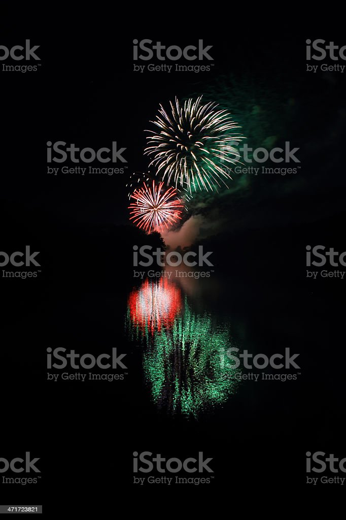 Fireworks Over River royalty-free stock photo