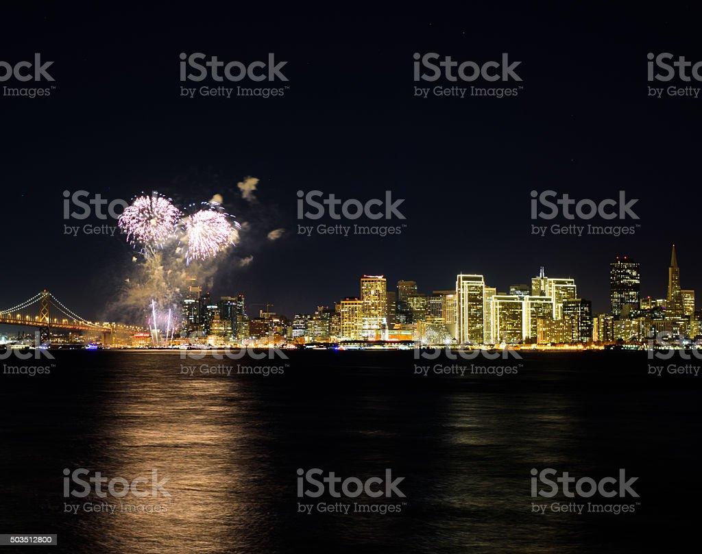 Fireworks over San Francisco stock photo