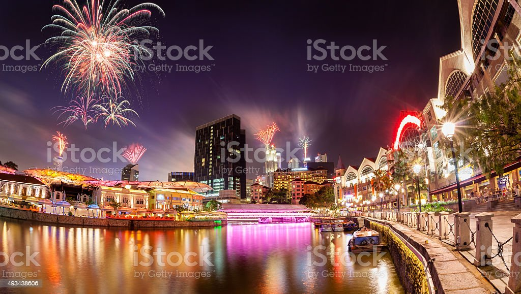 Fireworks Over Singapore River stock photo