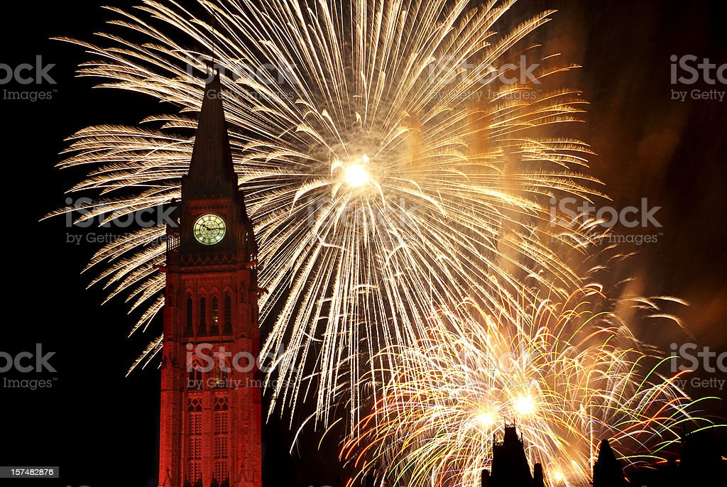 Fireworks over the Canadian Parliament, Ottawa on Canada Day stock photo