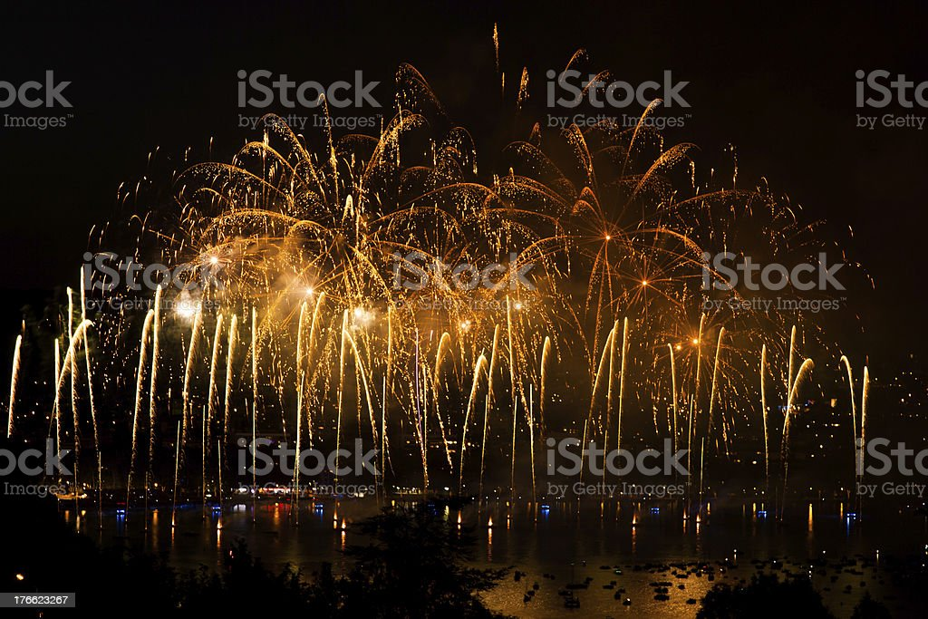 Fireworks over the city of Annecy in France royalty-free stock photo