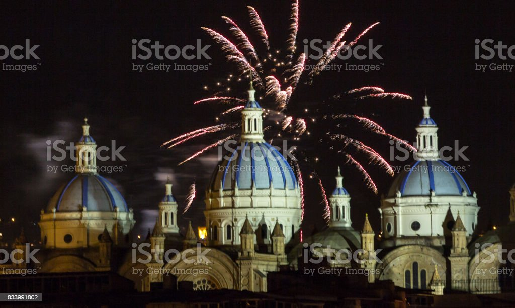 Fireworks over the domes stock photo