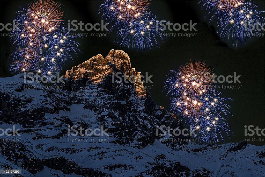 Fireworks over the Matterhorn stock photo