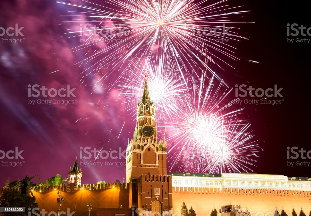Fireworks over the Moscow Kremlin, Russia stock photo