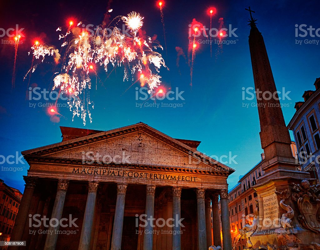 Fireworks over the Pantheon in Rome, Italy stock photo