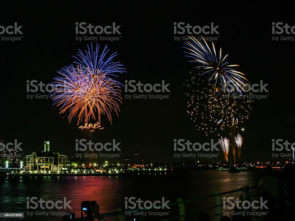 Fireworks over the sea stock photo