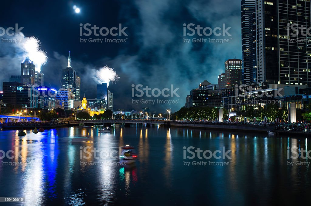 Fireworks over the Yarra River, Melbourne, Australia 2012 royalty-free stock photo