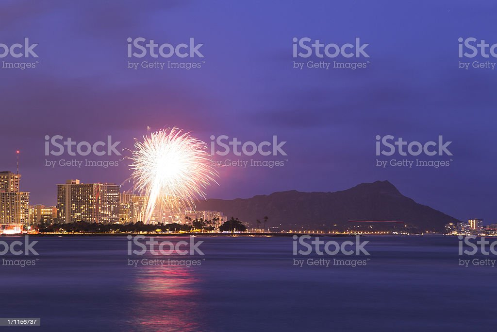 Fireworks over Waikiki, Honolulu, Hawaii royalty-free stock photo