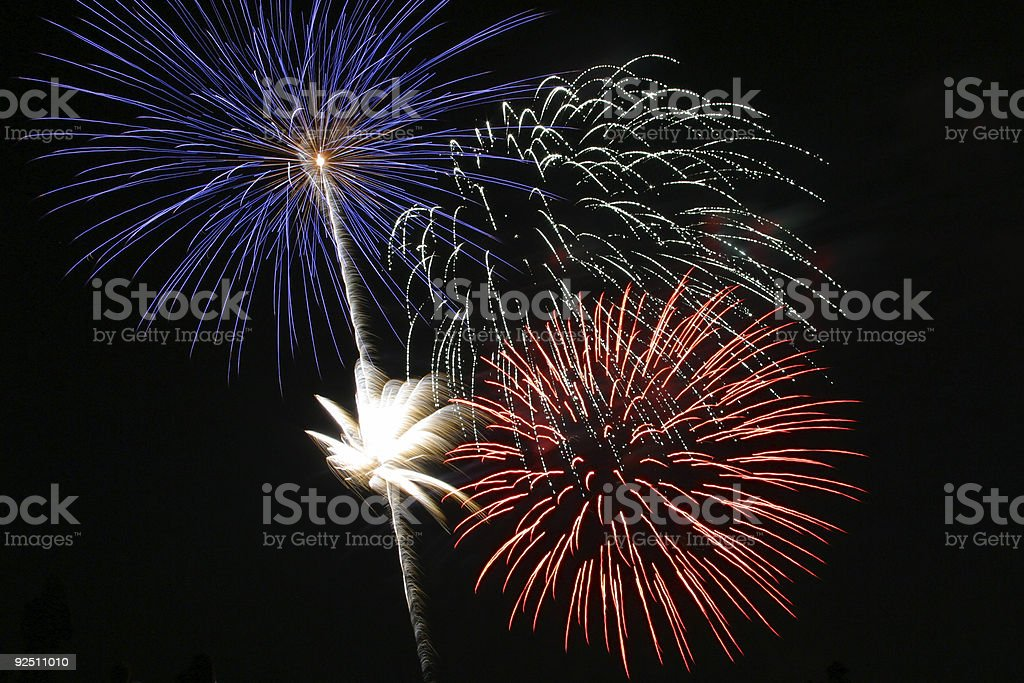 Fireworks - Red White and Blue royalty-free stock photo