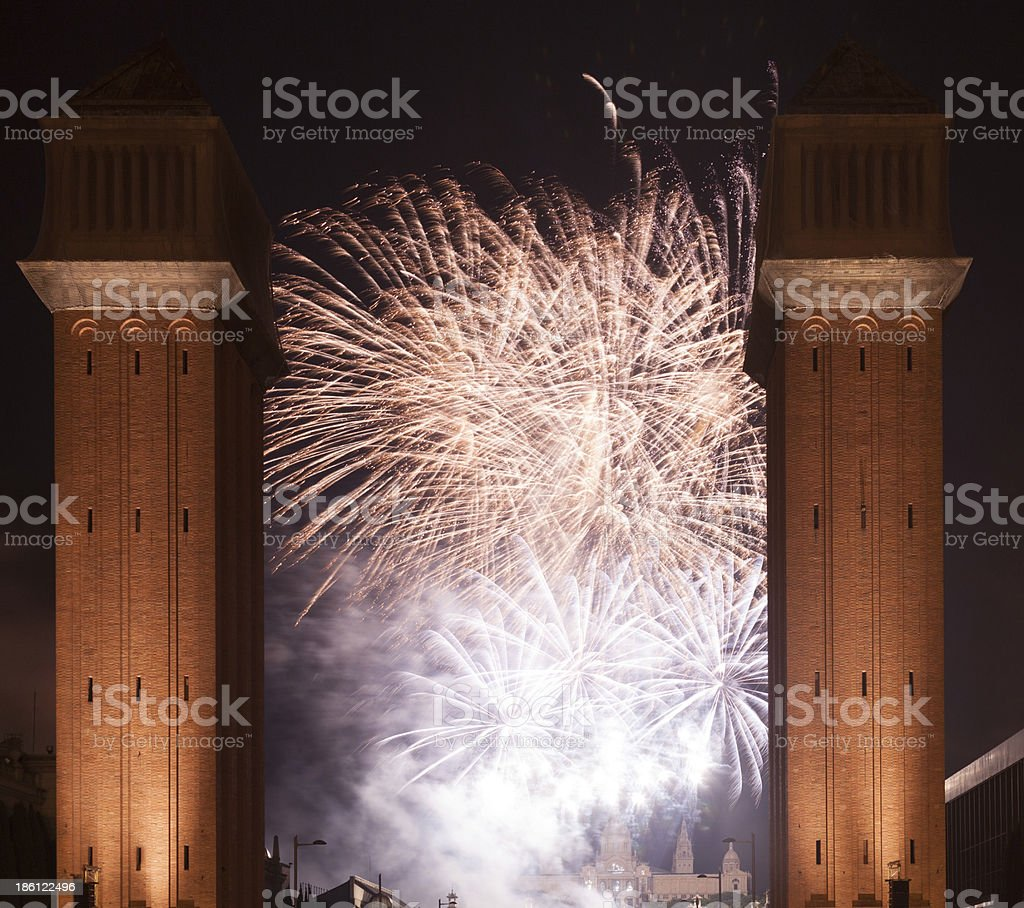Fireworks show at Barcelona. Catalonia stock photo
