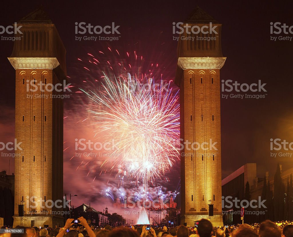 Fireworks show in night. Barcelona, Catalonia stock photo