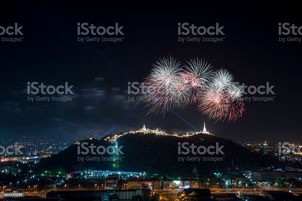 Fireworks show over Khao wang Historical Park, Petchaburi stock photo