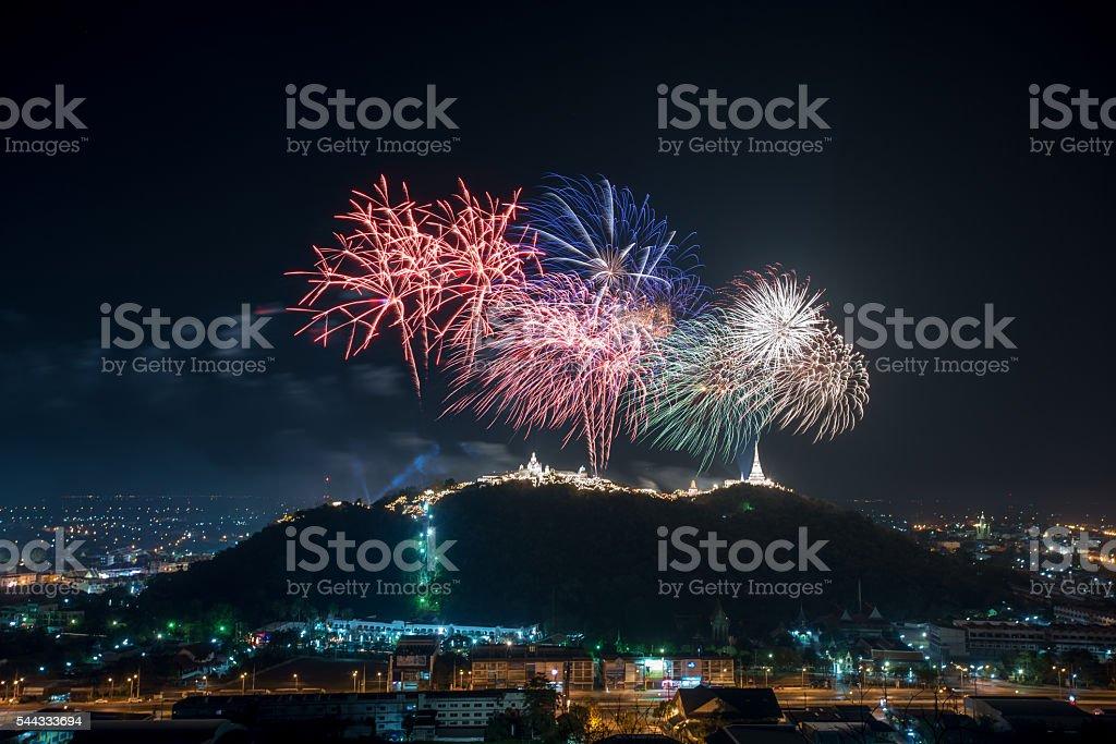 Fireworks show over Khao wang Historical Park, Petchaburi stock photo