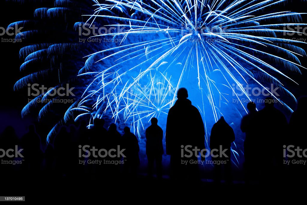 fireworks show silhouette royalty-free stock photo