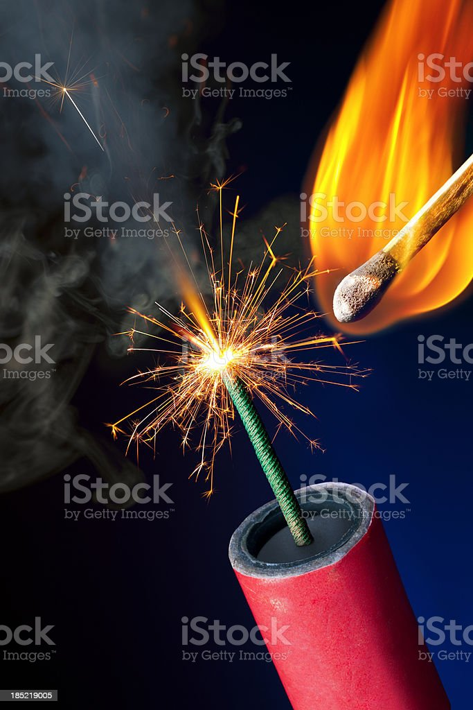 Fireworks; The Fuse is Lit royalty-free stock photo