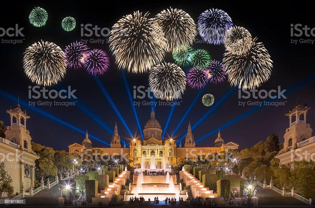 Fireworks under Magic Fountain in Barcelona stock photo