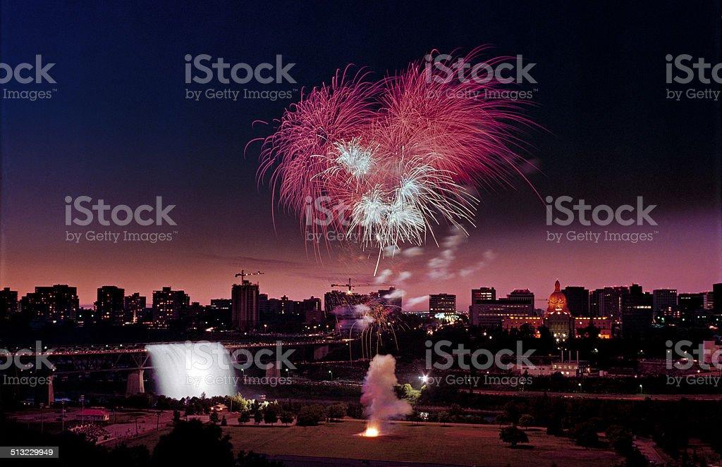 Fireworks Waterfall stock photo