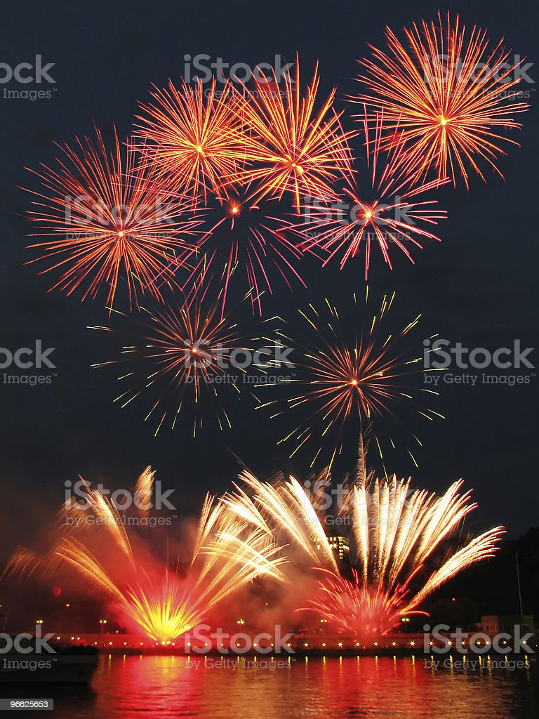 Fireworks with reflection vector art illustration