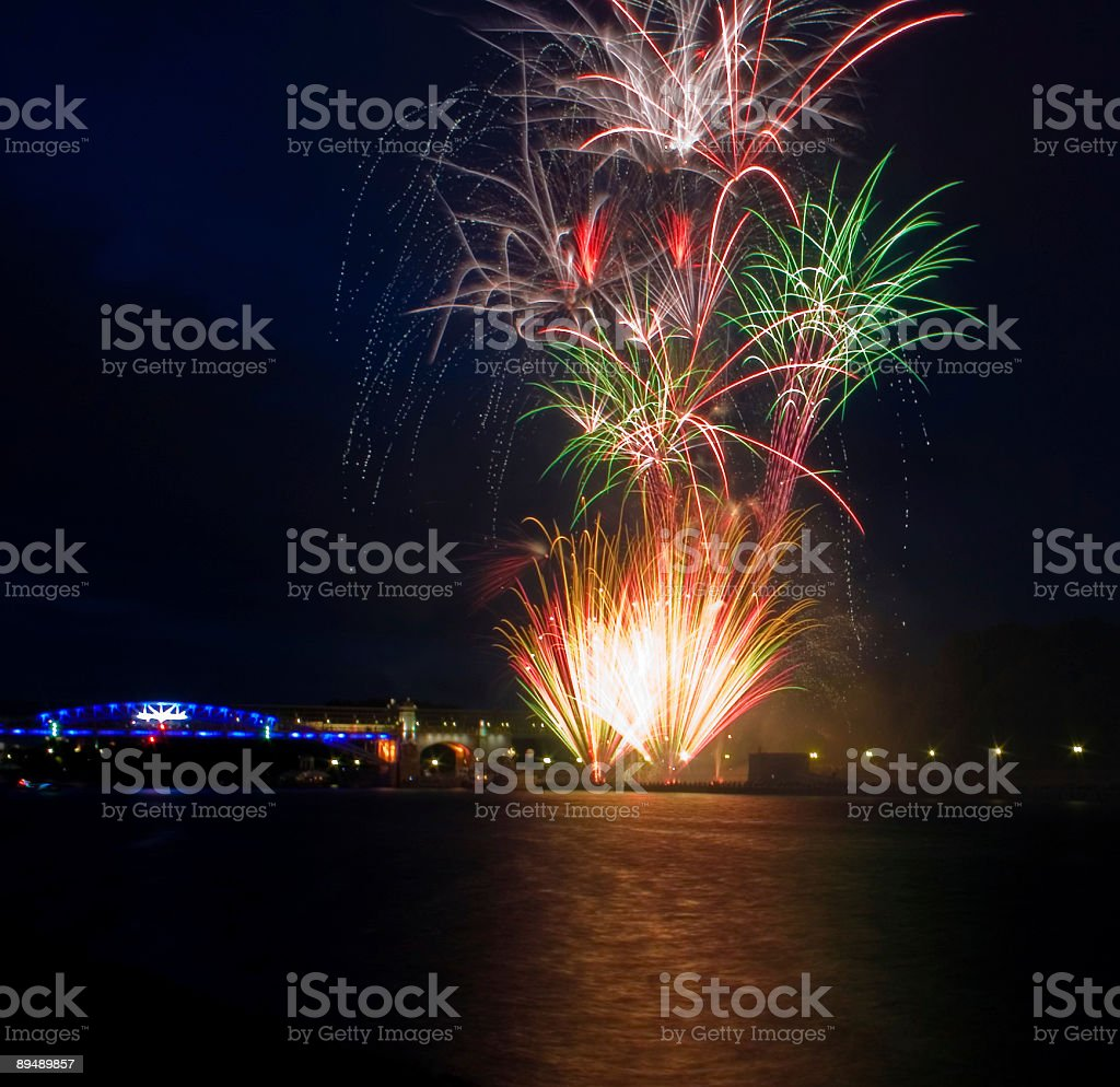 Fireworks with reflections stock photo