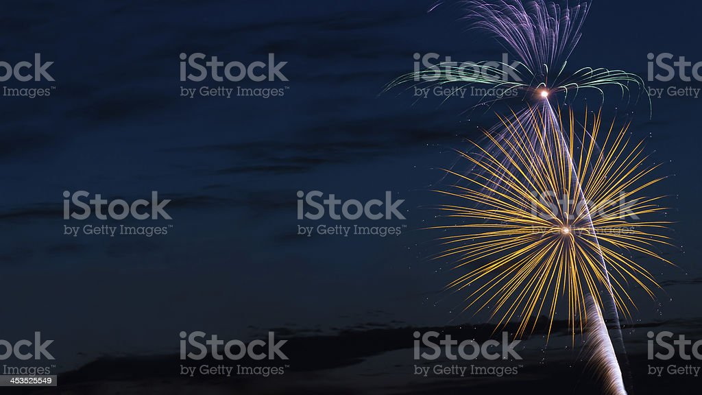 Fireworks with Text-Friendly Space stock photo