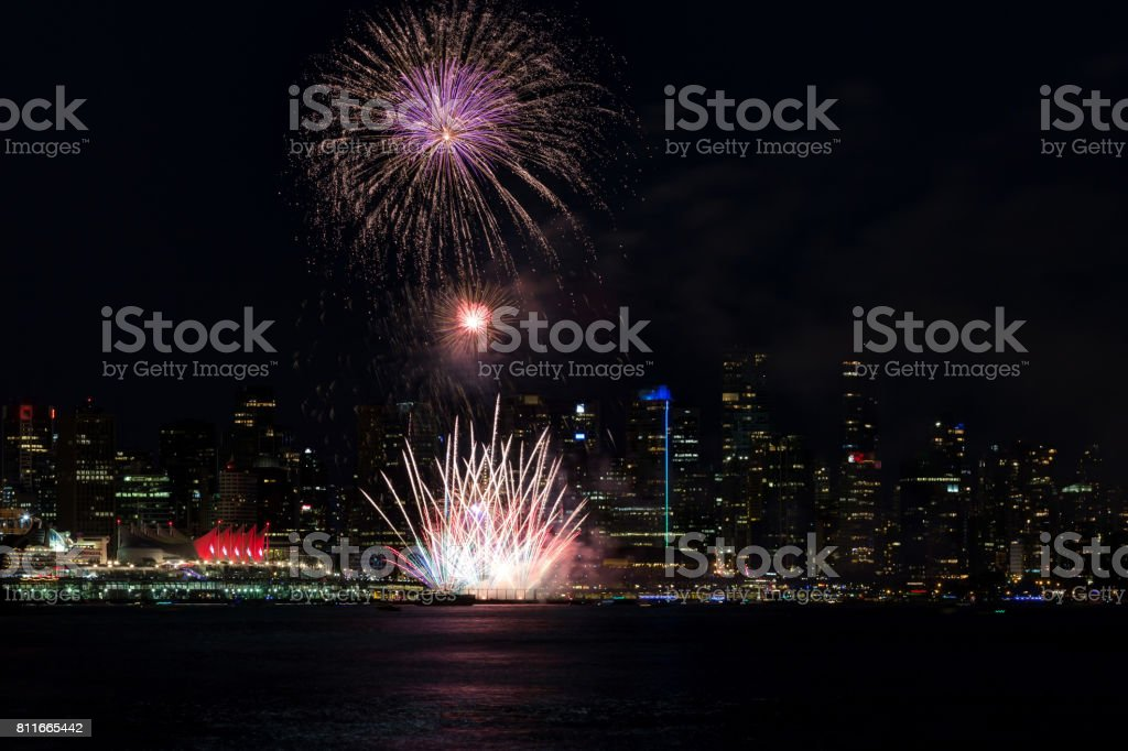 Fireworks with Vancouver City Centre in the background on Canada Day 2017 stock photo
