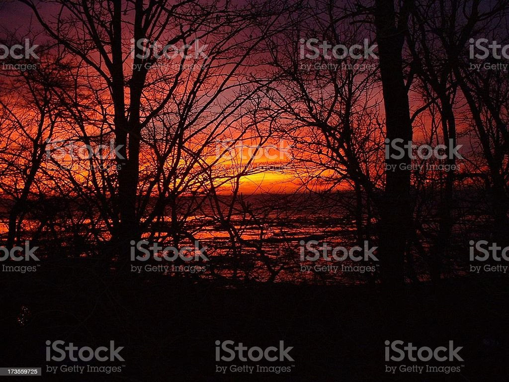Firey sunrise.Lake Erie royalty-free stock photo