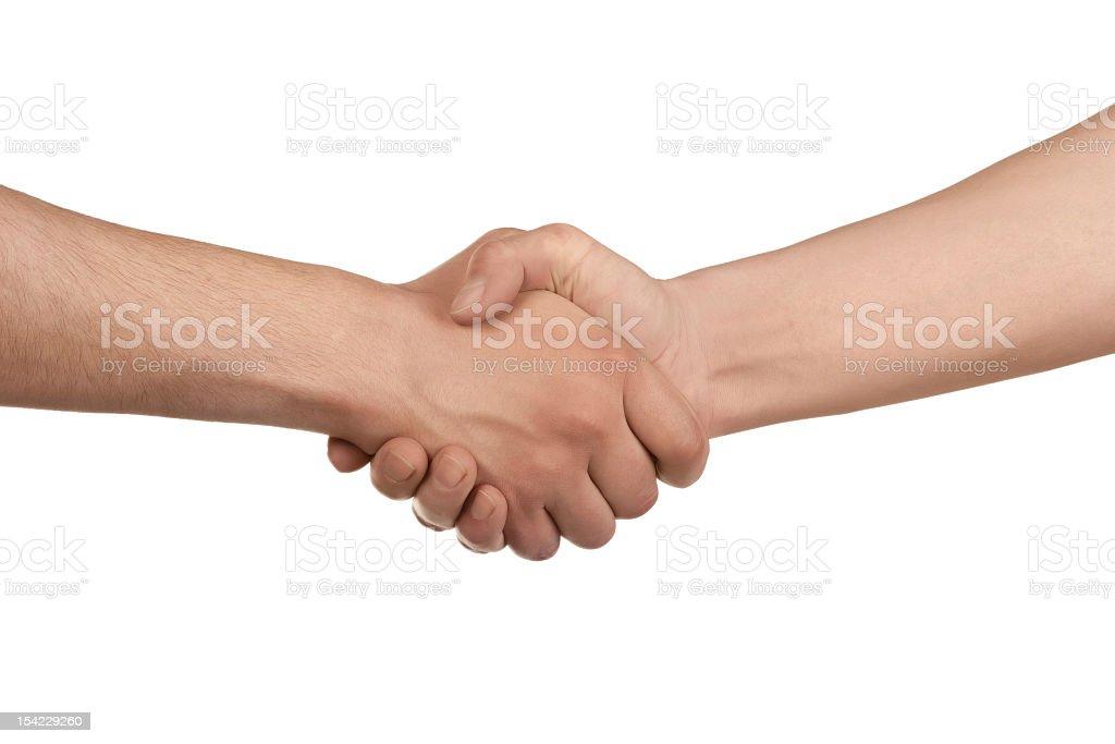 Firm handshake on white background stock photo