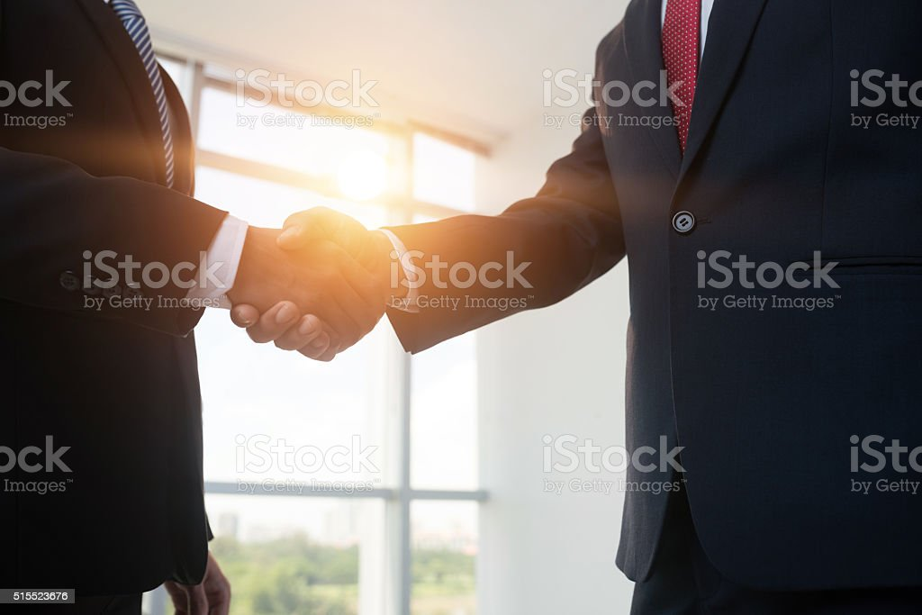 Firm handshake stock photo
