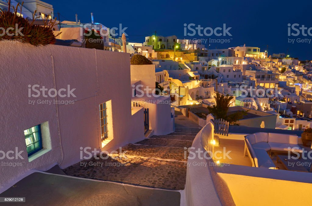 Firostefani at night- Santorini stock photo