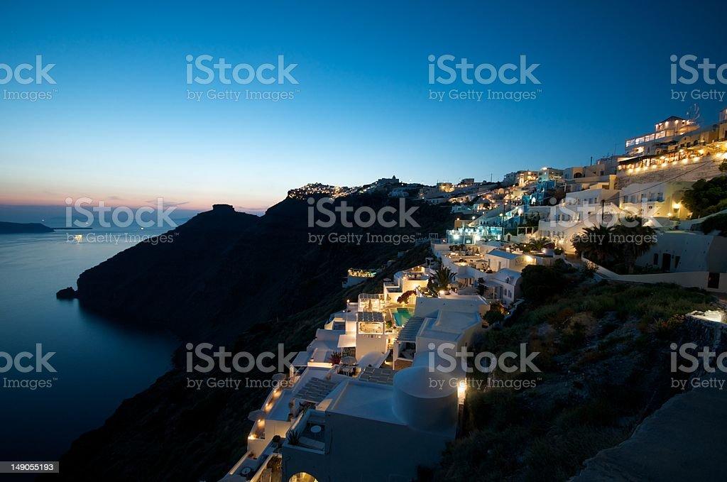 Firostefani by Night :: Santorini, Greece royalty-free stock photo