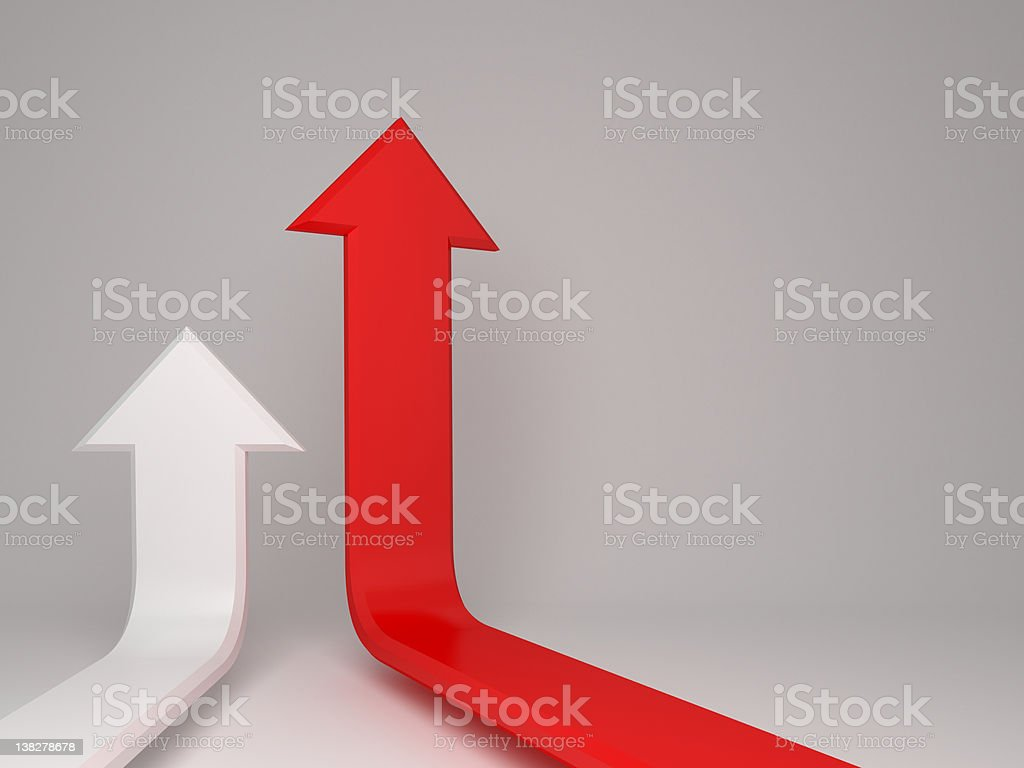 first, 3d arrows concept background stock photo