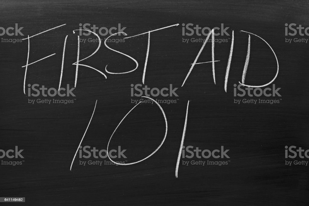First Aid 101 On A Blackboard stock photo