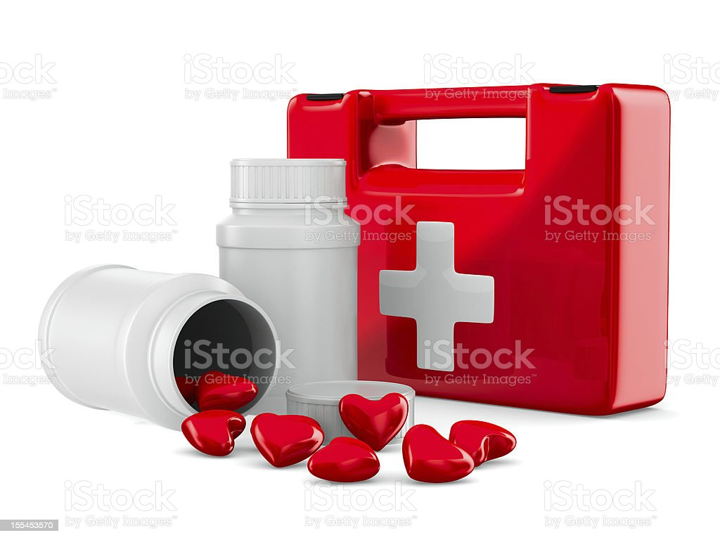 first aid and hearts on white background. Isolated 3D image royalty-free stock photo
