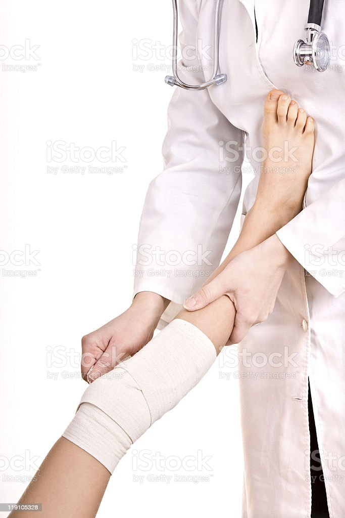 First aid at knee trauma. royalty-free stock photo
