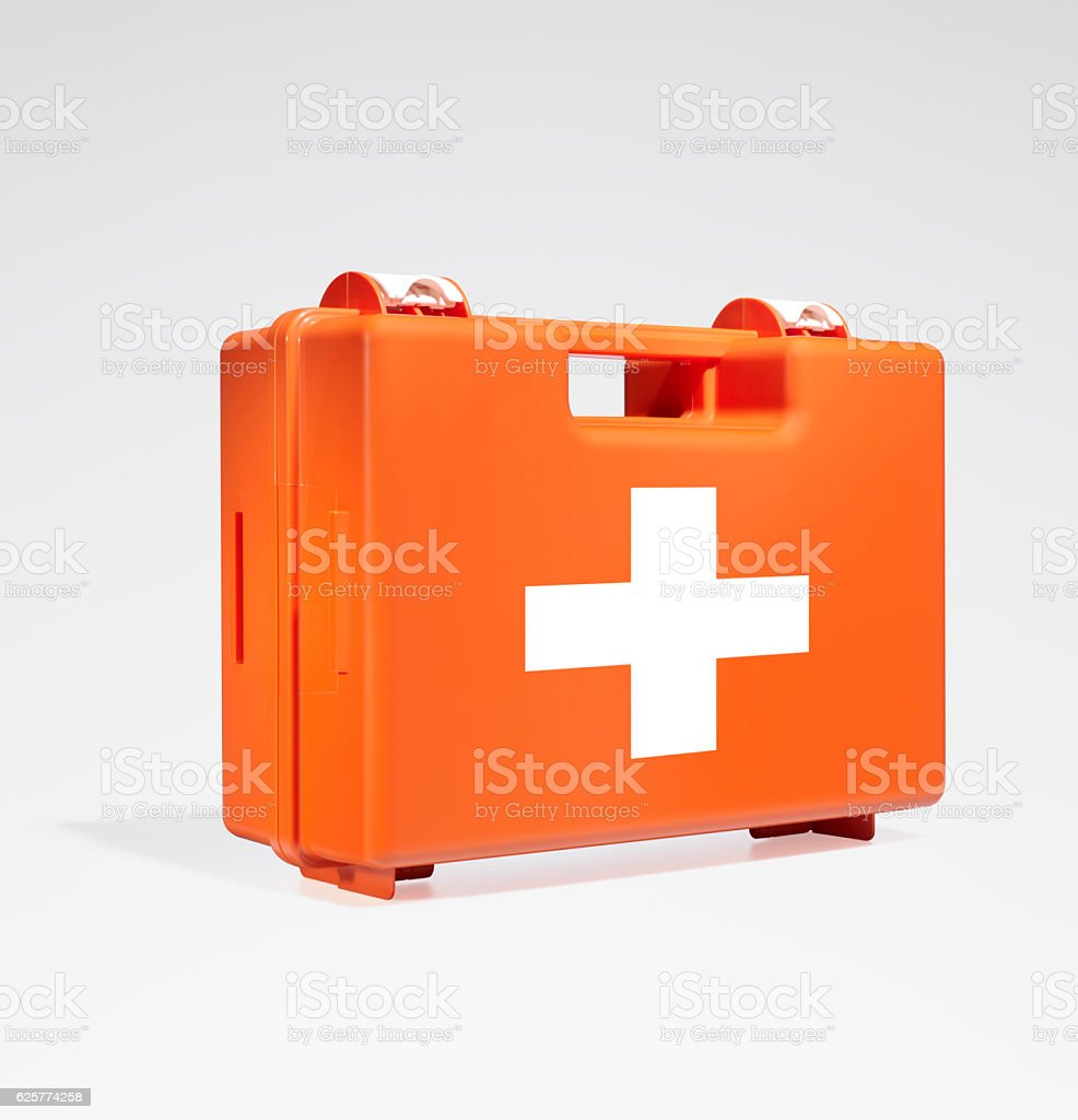 First Aid Box (isolated with clipping path over white background) stock photo
