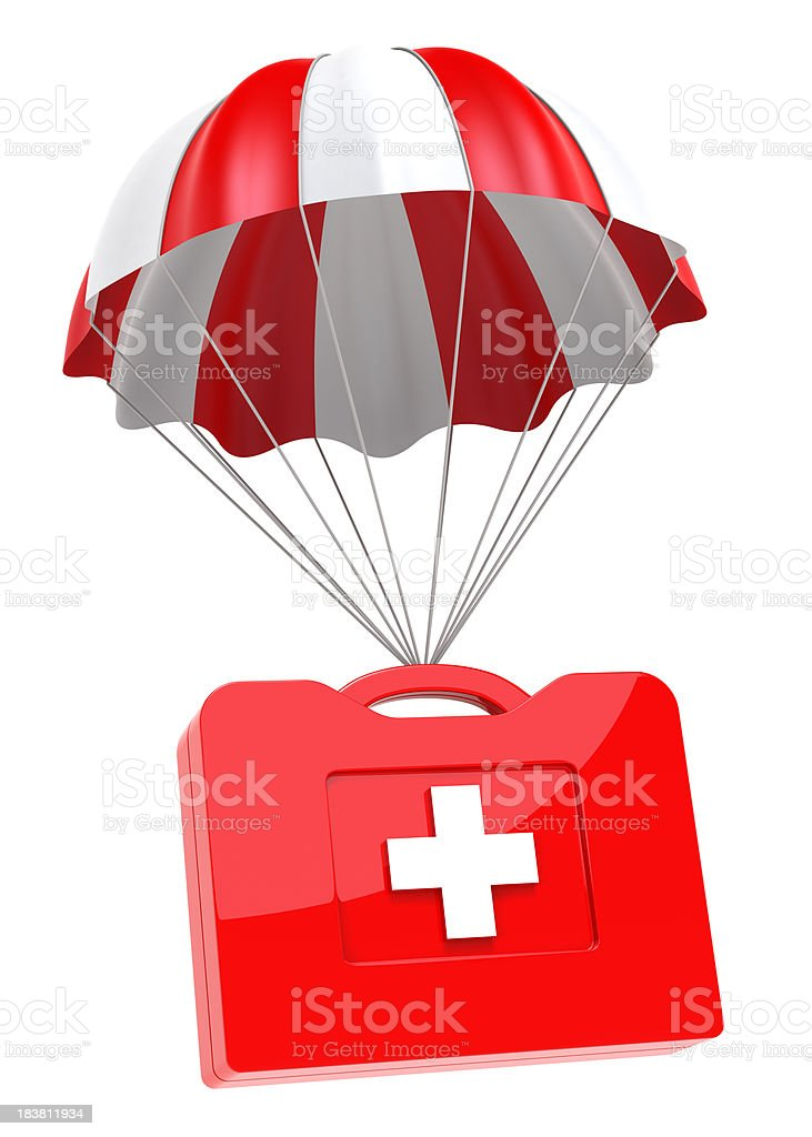 First Aid Case and Parachute royalty-free stock photo