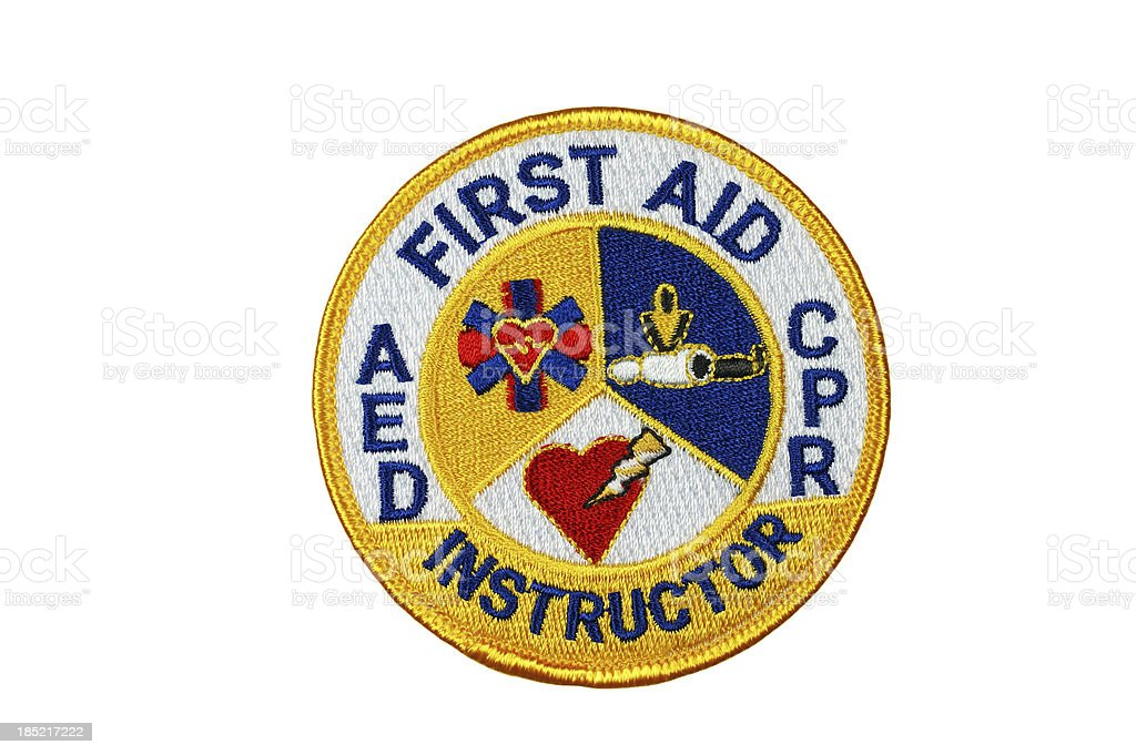 FIrst Aid CPR AED Instructor Patch stock photo