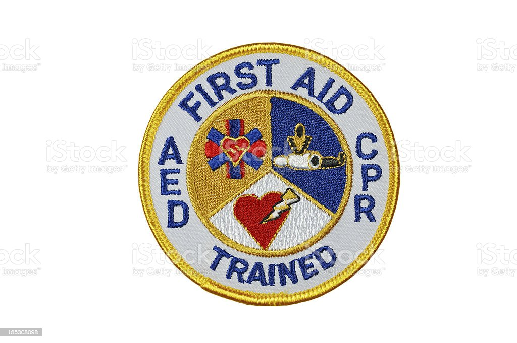 First Aid CPR AED Trained Patch stock photo
