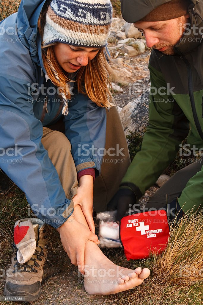 First Aid in the Wilderness stock photo