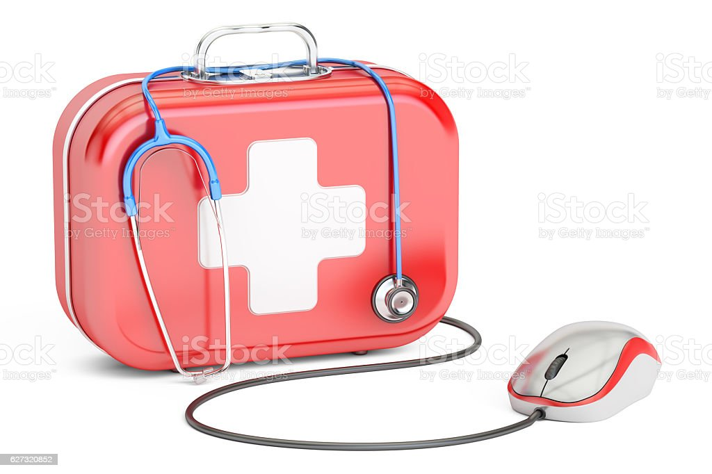 First Aid Kit and computer mouse. First Aid online concept vector art illustration