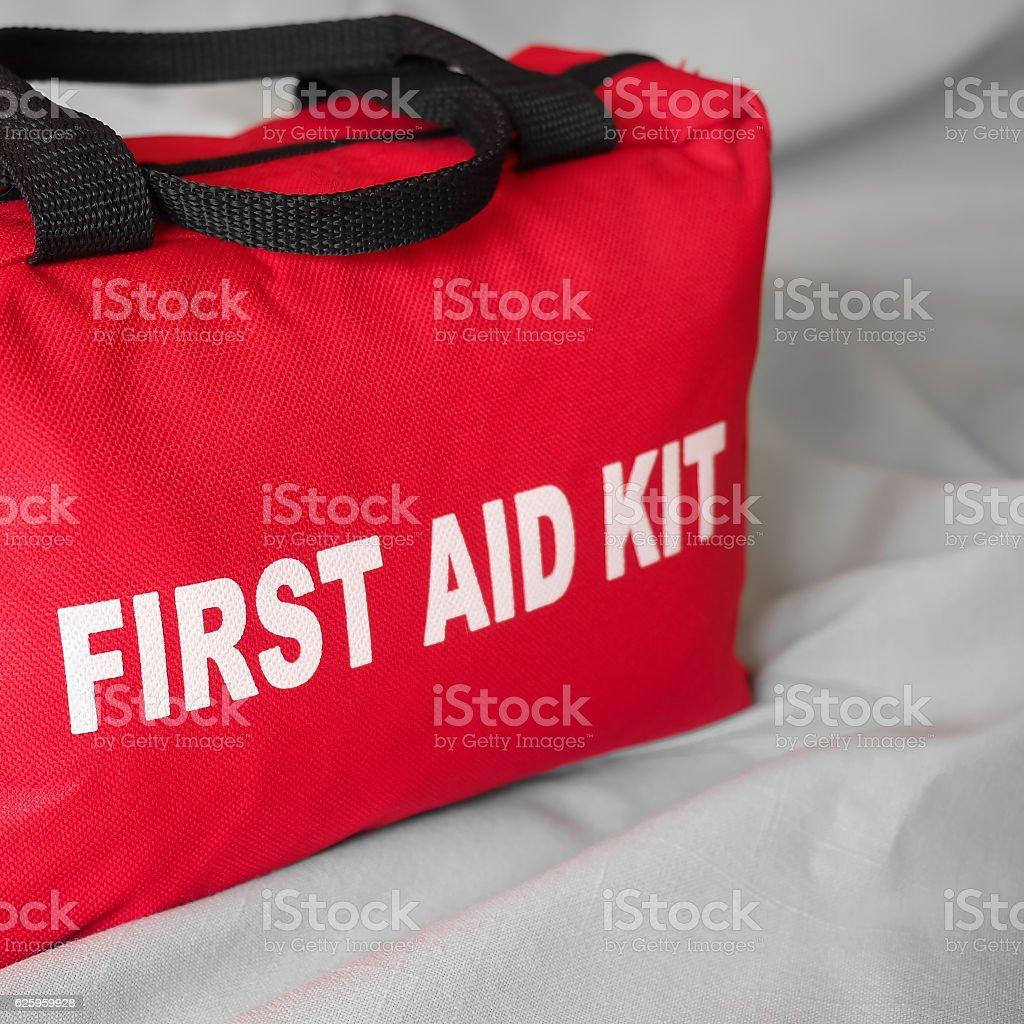 First Aid Kit Bag Closeup stock photo