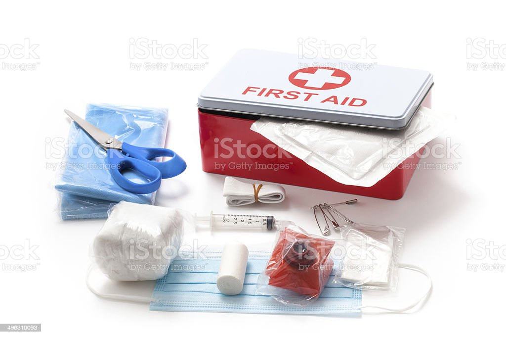 First Aid Kit Box and it Content stock photo
