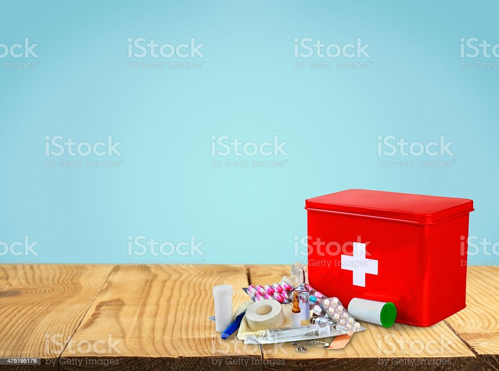 First Aid Kit, First Aid, Healthcare And Medicine stock photo