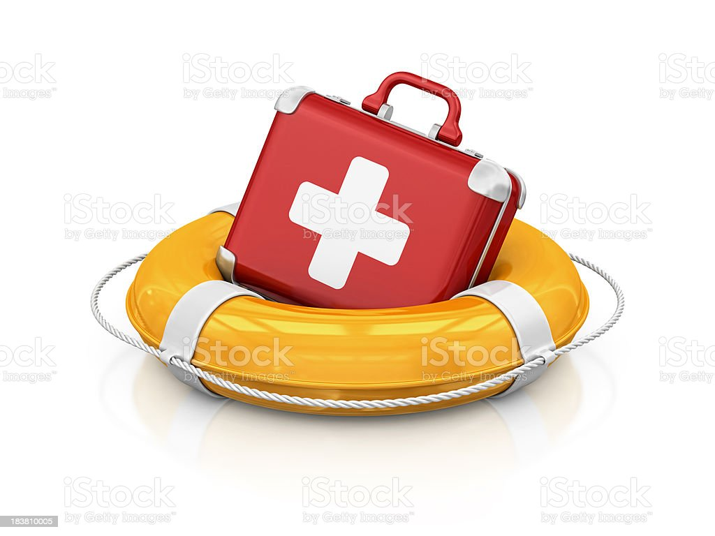 first aid kit in life belt stock photo