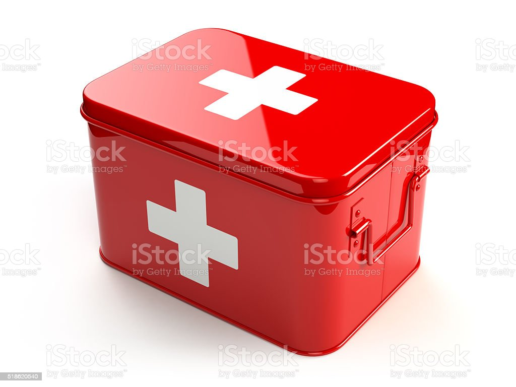 First aid kit isolated on white. stock photo
