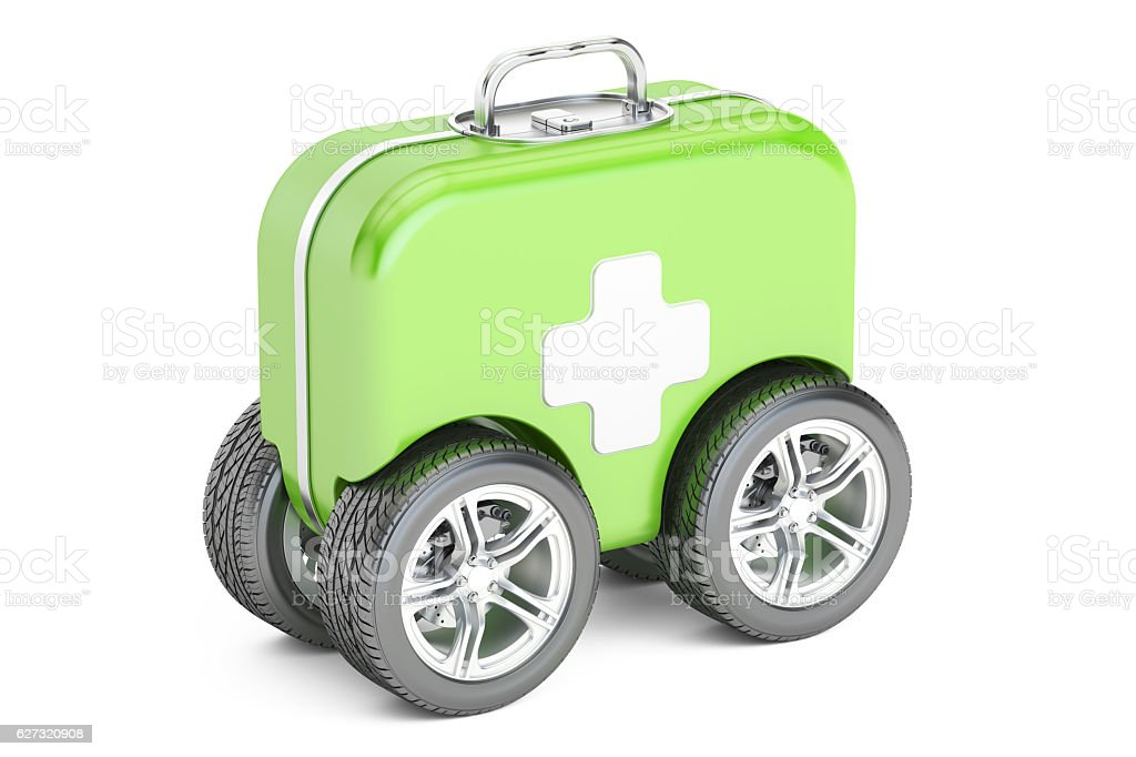First Aid Kit on Wheels. First Aid concept. 3D rendering stock photo