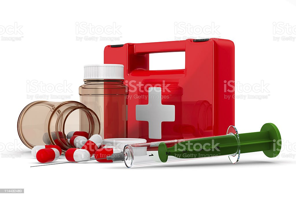 First aid kit on white background. Isolated 3D image royalty-free stock photo