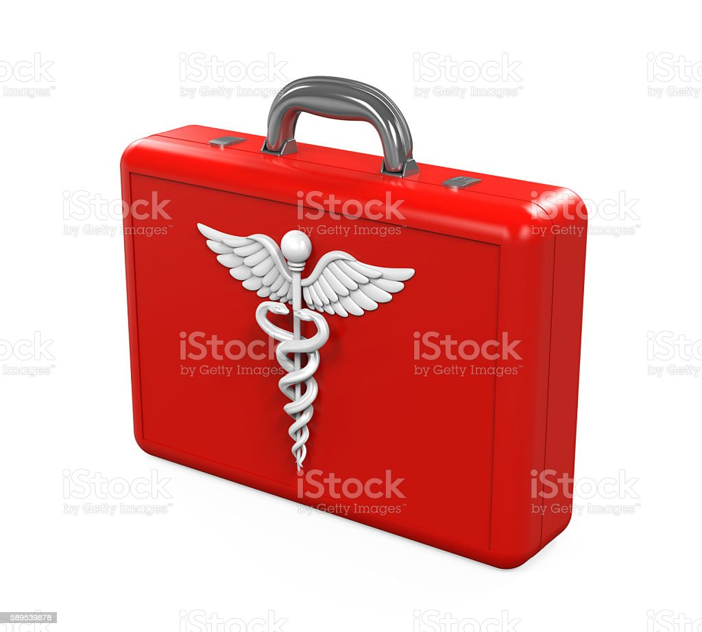 First Aid Kit with Caduceus Symbol stock photo
