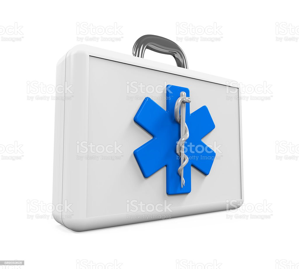 First Aid Kit with Star of Life Symbol stock photo